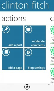 Actions screen in the WordPress App
