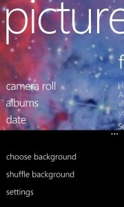 Pictures Hub Select Background Menu