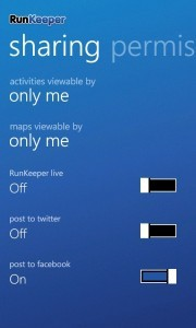 RunKeeper Sharing Page
