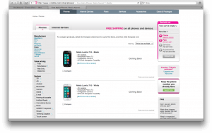 T-Mobile Website Screenshot