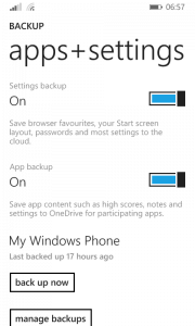 Apps+Settings Backup Settings