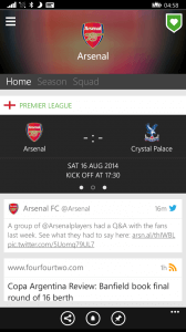 Club Page in OneFootball for Windows Phone