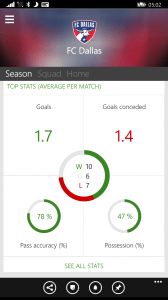 Club Season Stats in OneFootball for Windows Phone