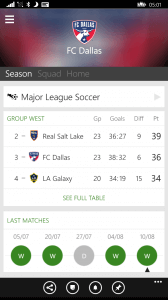 Club Season View in OneFootball for Windows Phone
