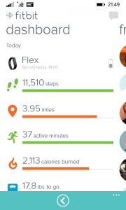 Fitbit for Windows Phone Dashboard