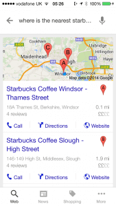 Google Search for Starbucks