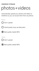 OneDrive Auto Photo Saving Settings