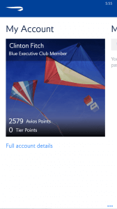 British Airways App for Windows Phone