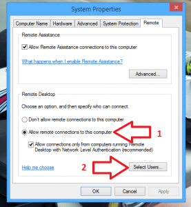 Control Panel Allow Remote Desktop