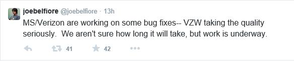 Joe Belfiore Tweet on Verizon 2