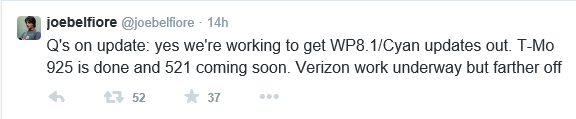Joe Belfiore Tweet on Verizon