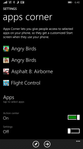 Apps Corner in Lumia Denim