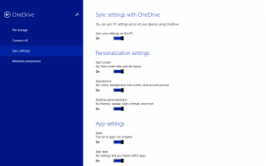 Sync PC Settings in OneDrive