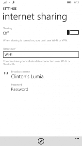 Enable Internet Sharing on Windows Phone
