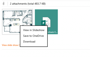 Save to OneDrive in Outlook.com