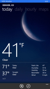 MSN Weather for Windows Phone 8.1