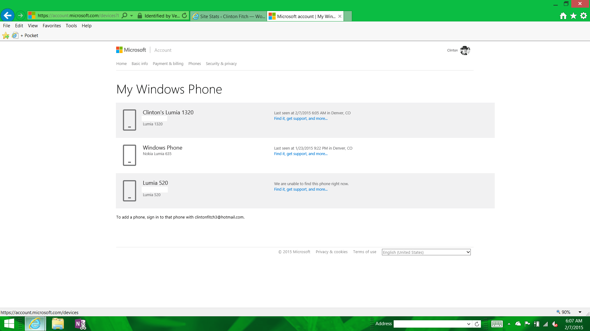 New devices page on microsoft accounts reflect windows 10 for Pages for windows