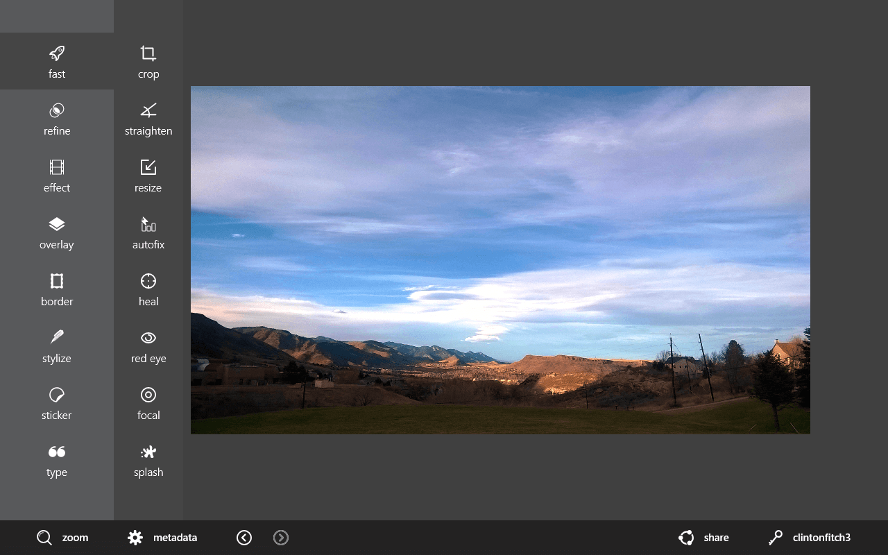 The Fast Menu in Autodesk Pixlr for Windows 8.1