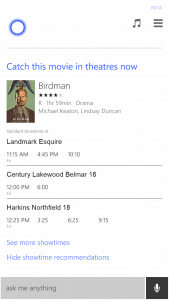Movie Times in Cortana on Windows Phone