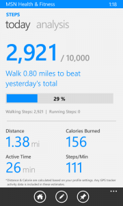 Tracking Stesp in MSN Health & Fitness for Windows Phone