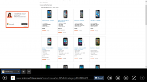 Windows Phones at the Microsoft Store Online