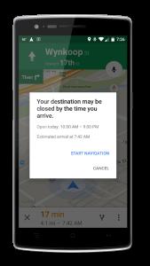 Google Maps Destination Closed Notification