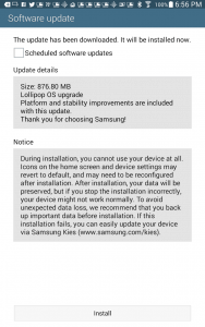 Samsung Galaxy Tab Lollipop Update