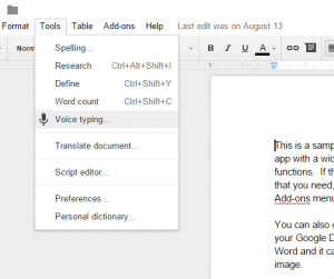 Voice Tying in Google Docs