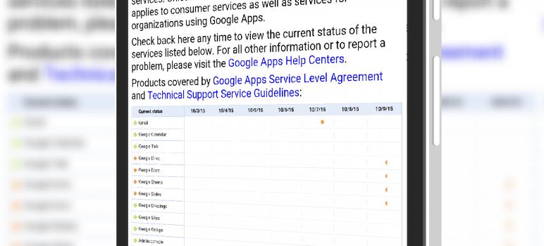 Google App Status Site