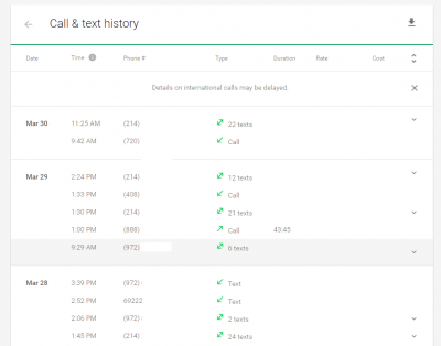 Project Fi Call & Text History