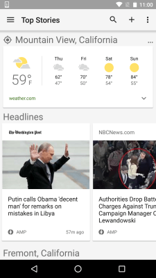 AMP Pages in Google News & Weather