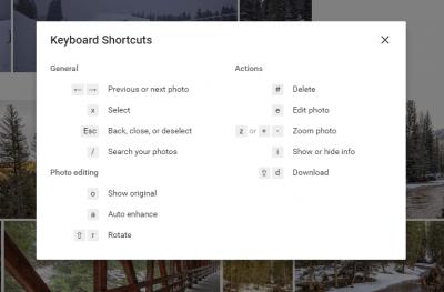 Google Photos Web Shortcuts
