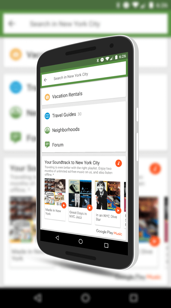 Google Play Music in TripAdvisor