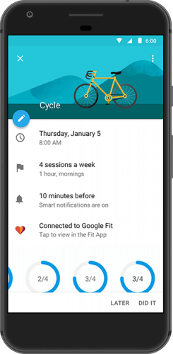 Google Calendar Goals Connect with Google Fit
