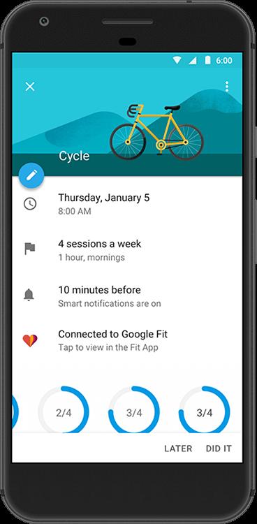 Google Calendar Goals Connect with Google Fit