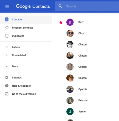 Google Contacts Preview for Web