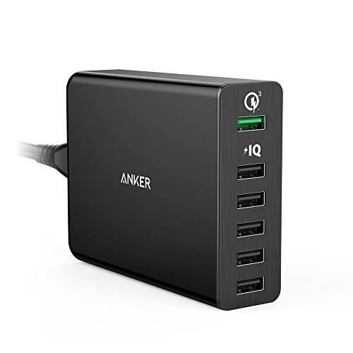 Anker 6-Port USB Charger with Quick Charge 3.0