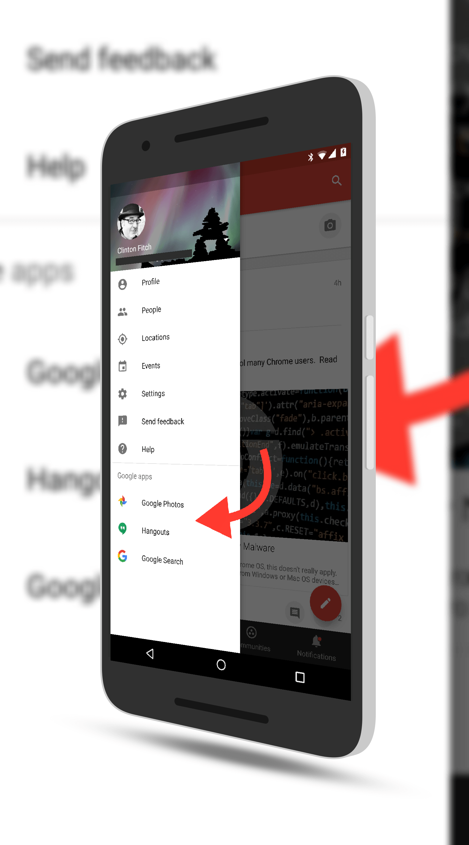 Google+ With Link to Spaces Removed