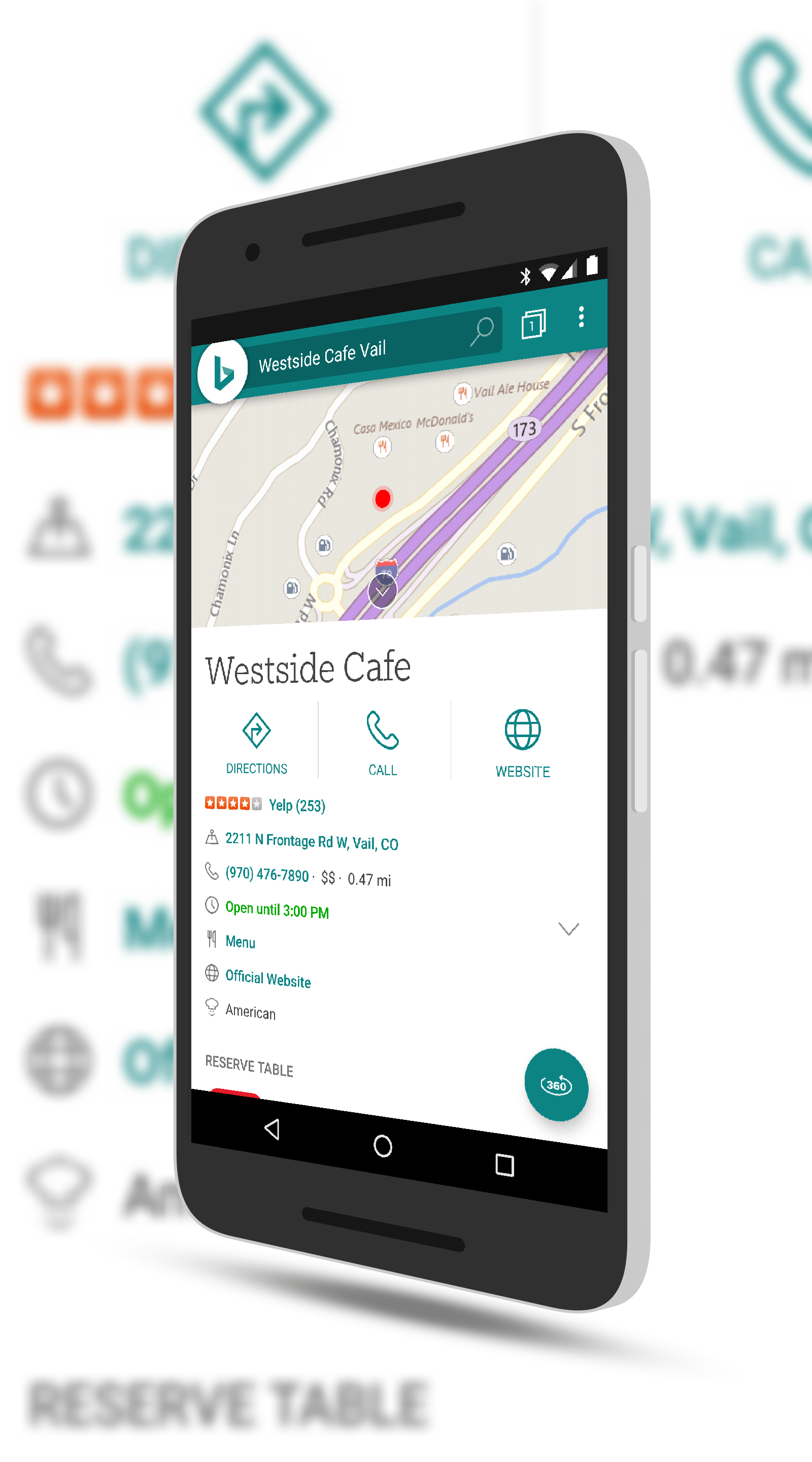 Bing Local Travel Results