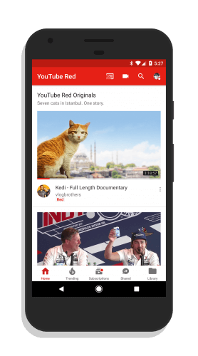 YouTube for Android Bottom Navigation