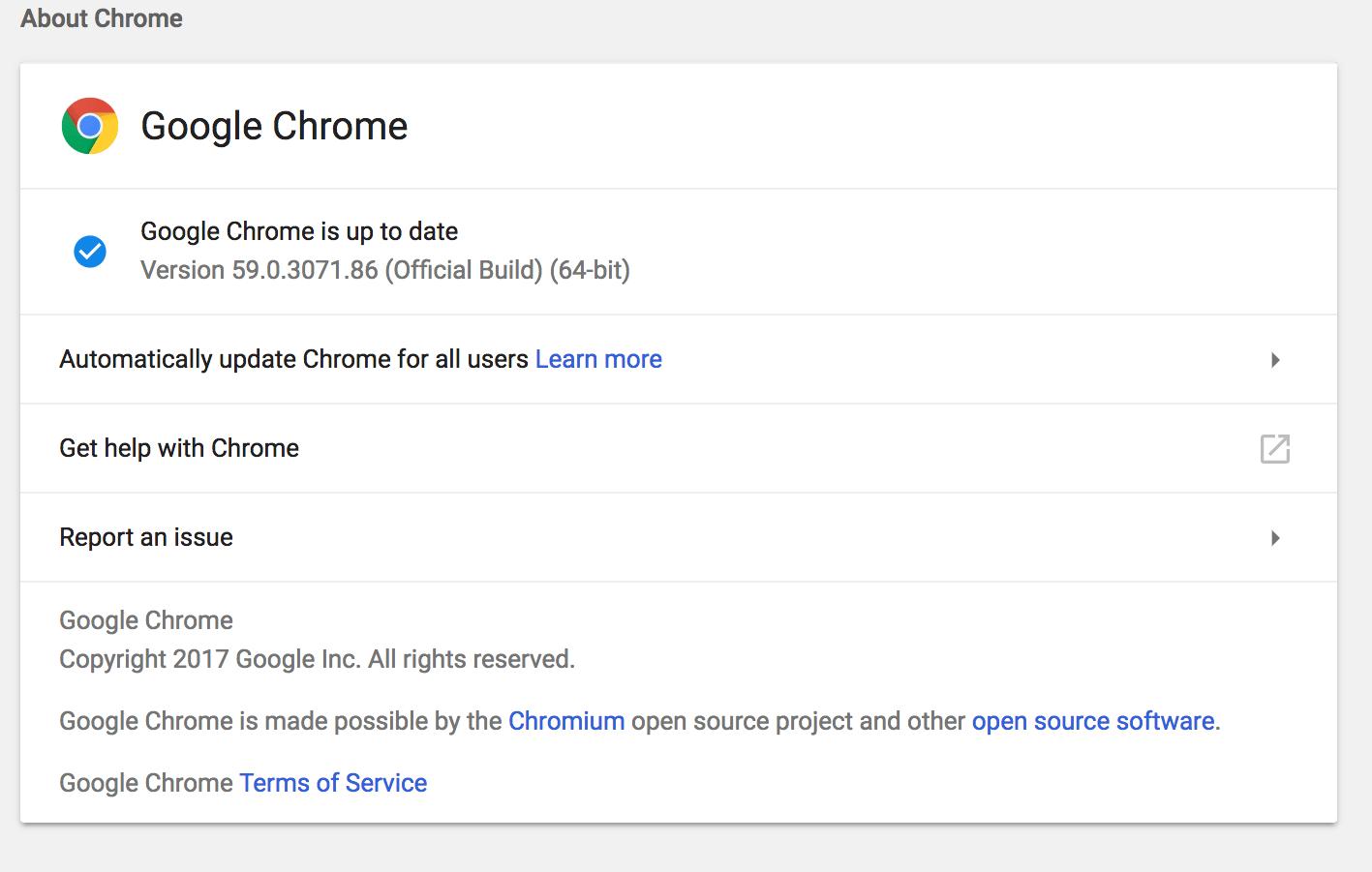 Chrome 59 Material Design Settings
