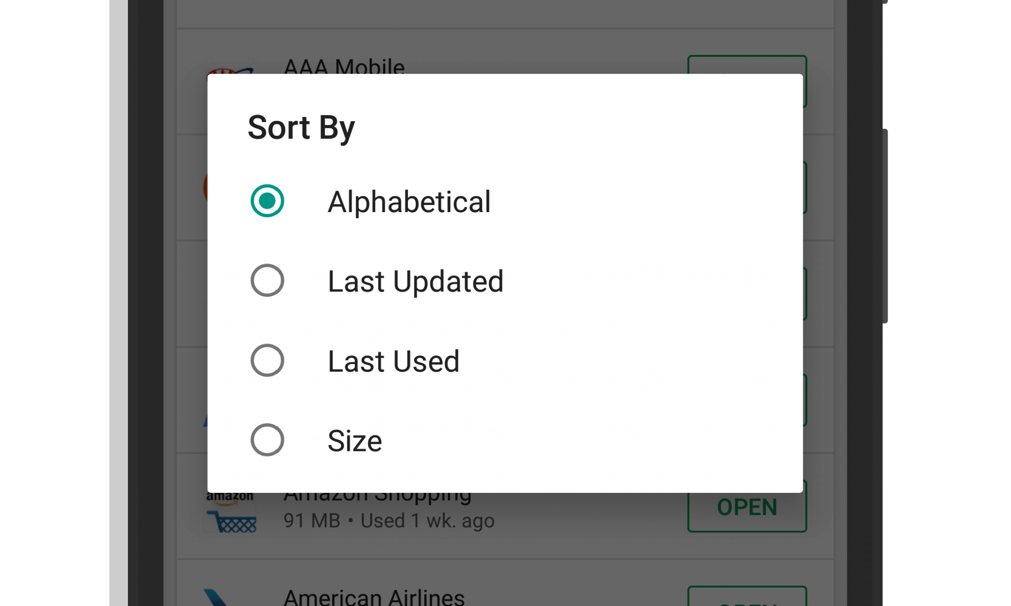 Google Play Store Installed App Sorting