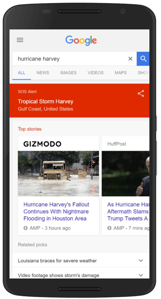 Hurricane Harvey Google SOS