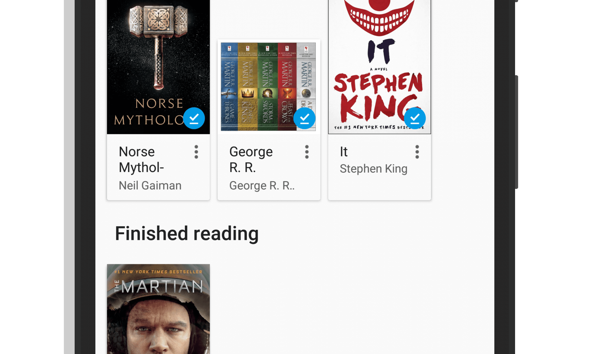 Shelves in Google Play Books