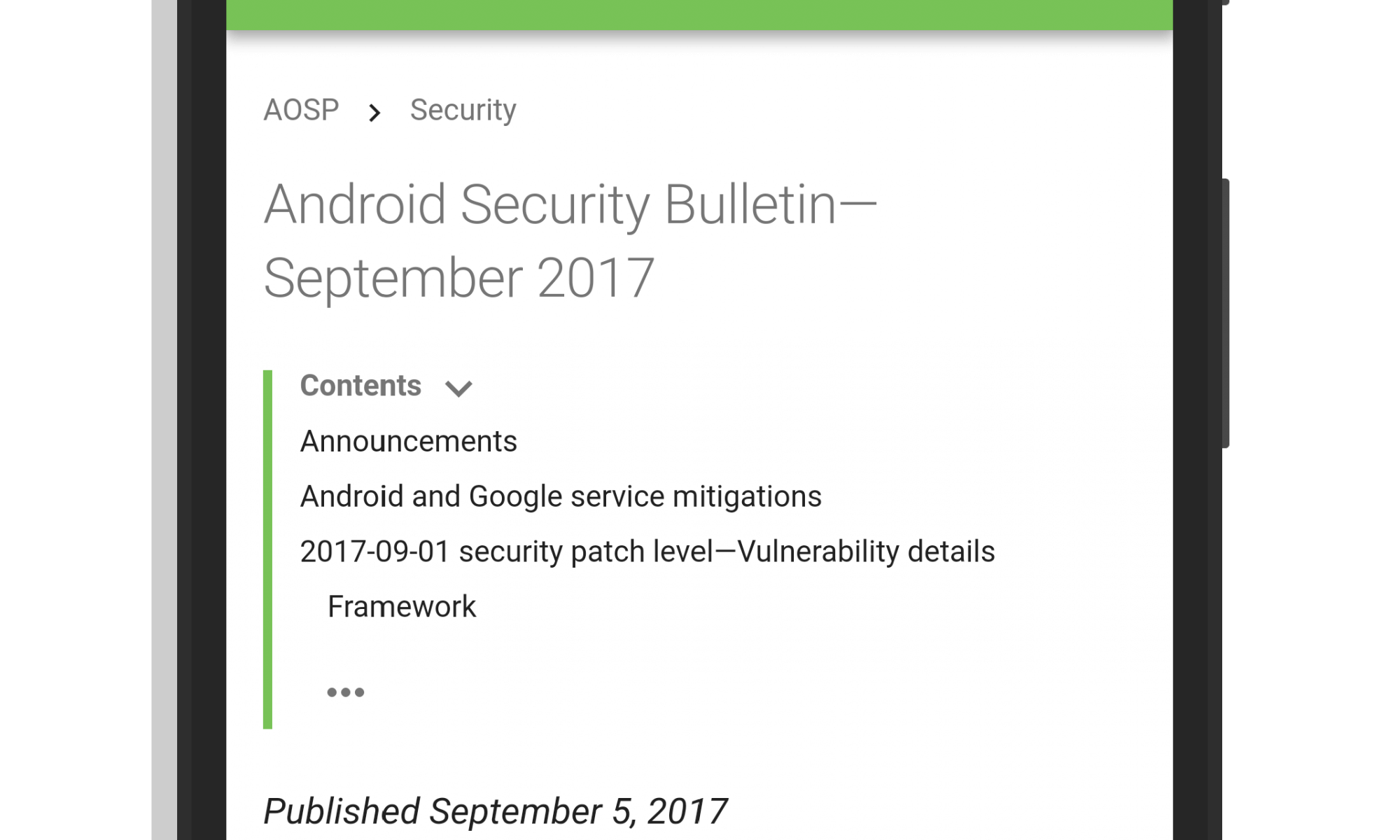 Android Security Update - September 2017