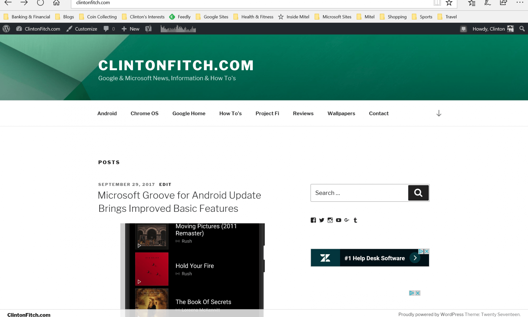 ClintonFitch.com in Microsoft Edge