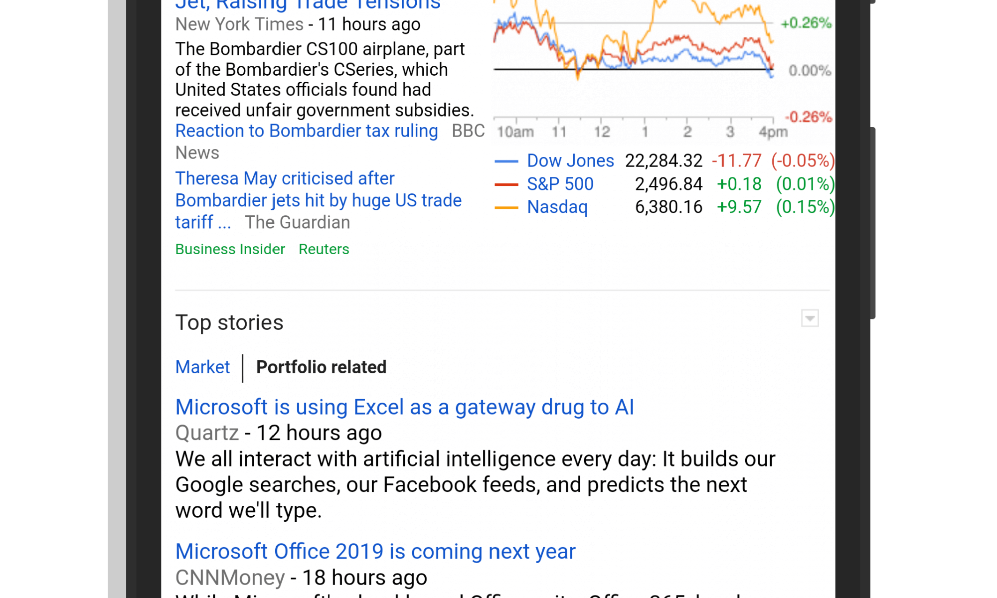 Google Finance on Mobile