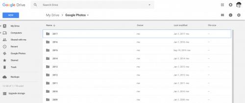 Google Photos Files on Google Drive