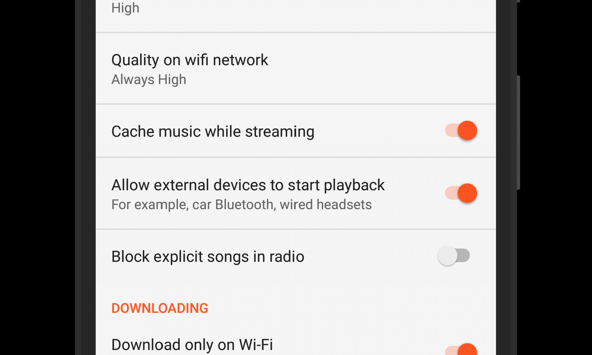Google Play Music External Playing Toggle
