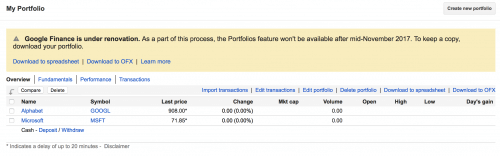 Portfolio banner warning on Google Finance
